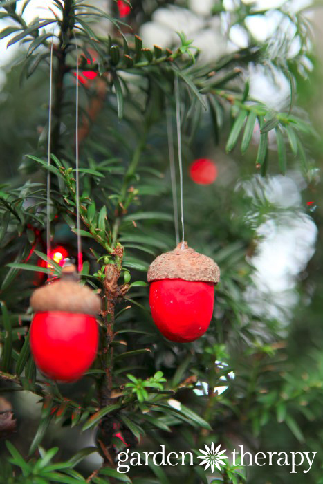 Festive clay acorn ornaments for Christmas decorations