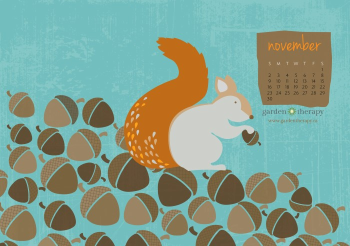 Garden Therapy Squirrelly Free Printable Calendar For November