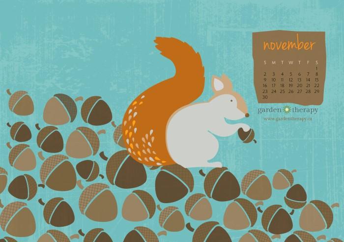 Garden Therapy Squirrelly Free Printable Calendar for November