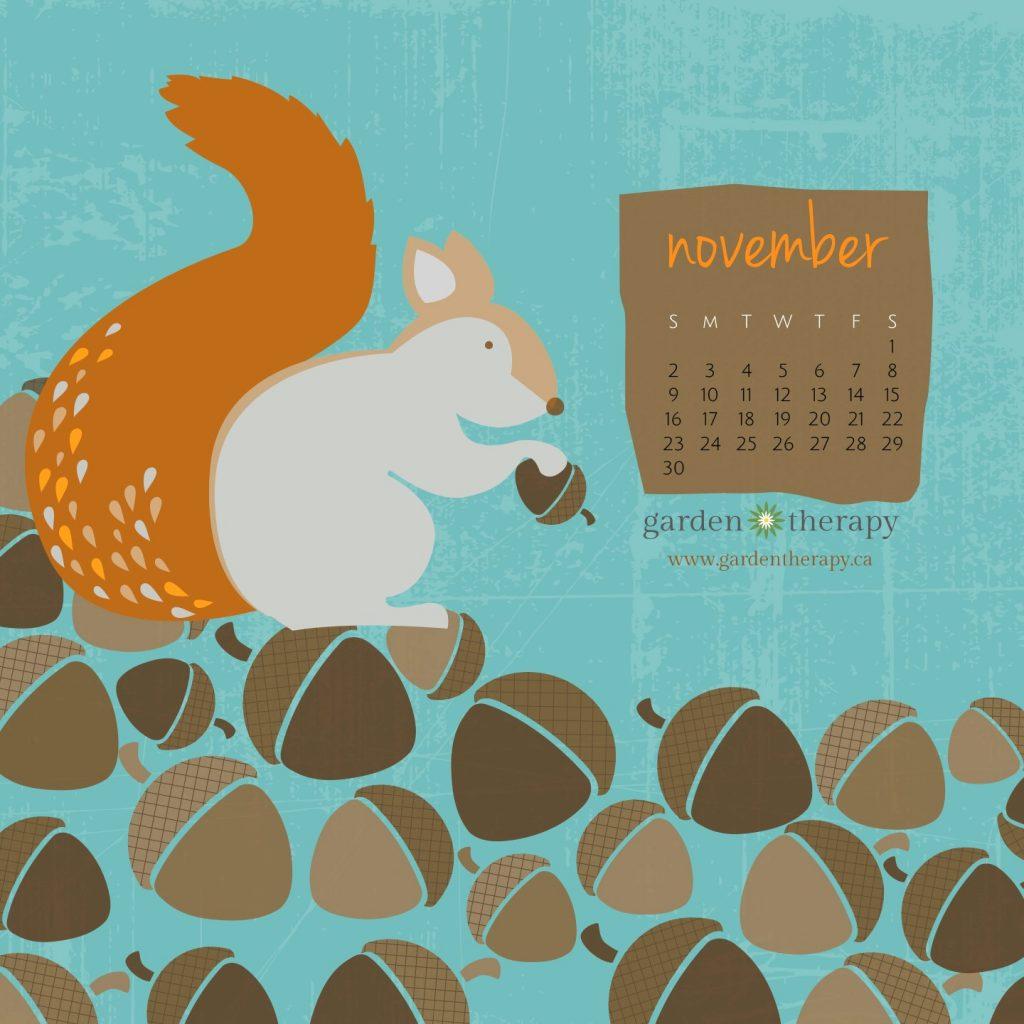Garden Therapy Squirrelly Mobile Calendar for November