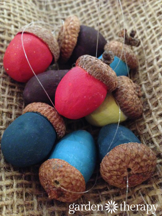 Love these clay acorn ornaments for holiday decorations