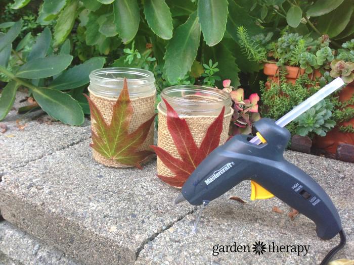 autum leaf and mason jar craft project step 3