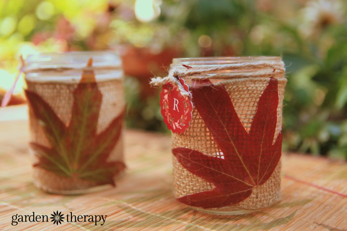 autum leaf and mason jar craft project with monogram