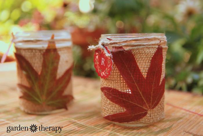 autum leaf and mason jar craft project with monogram