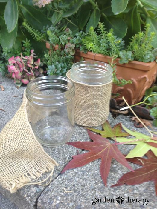 autum leaf and mason jar craft project