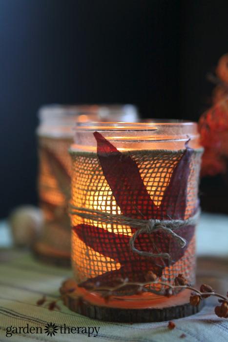 burlap wrapped mason jar fall candle craft
