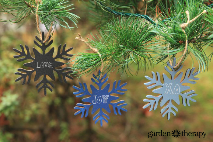 Chalk painted ornaments