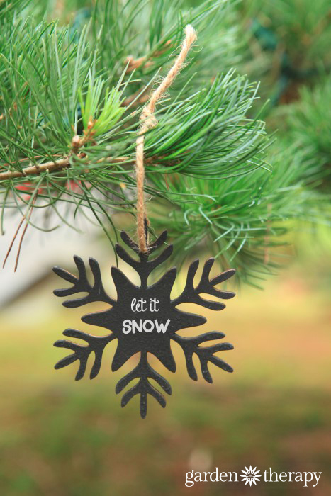 Chalkboard painted wood snowflake ornaments