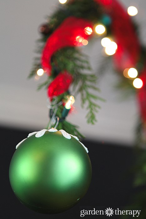 Grinchy Christmas ball from Christmas tree from How to Make a Nine Foot Grinch Tree