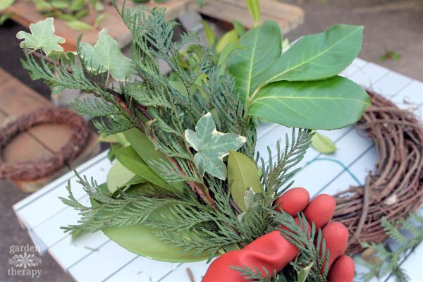 Bundling fresh evergreens to make a wreath