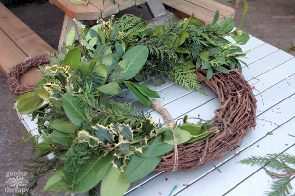 A DIY evergreen wreath