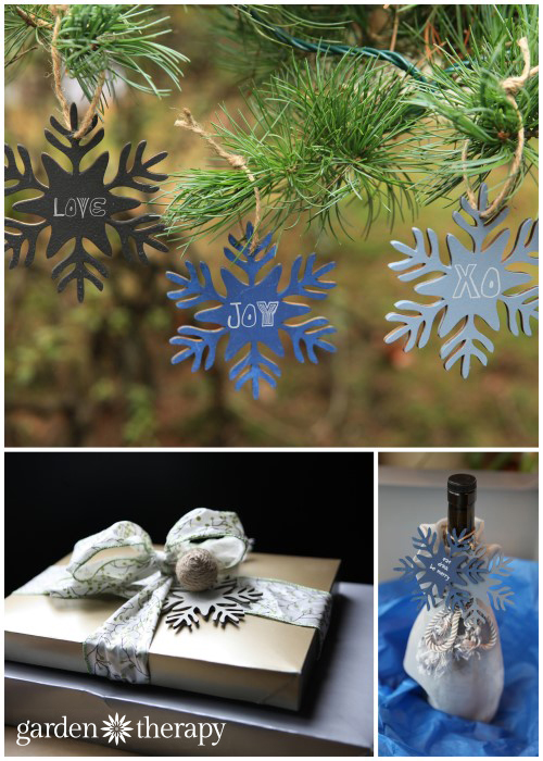 Use chalkboard painted wood ornaments as gift tags making the wrapping part of the gift!