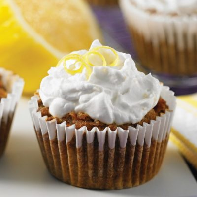 Gluten Free Carrot Cupcakes + Whipped Lemon Coconut Cream