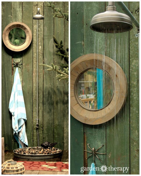 An outdoor shower fountain from the Blue Greenhouse Seaside Garden Design Feature