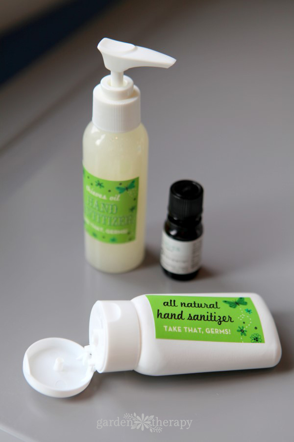 A more natural recipe for hand sanitizer using aloe, witch hazel, and Thieve's oil that's soft on skin.