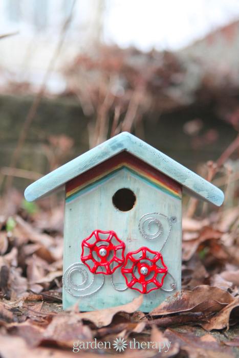 DIY junk metalwork birdhouse for Ronald MacDonald House charity