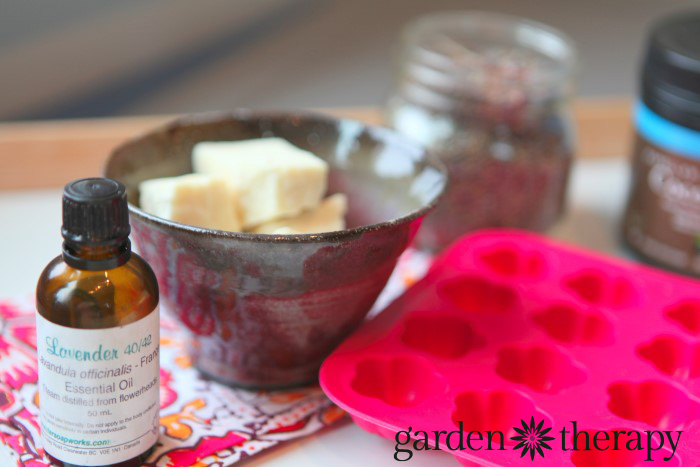 Ingredinets from How to Make Super Simple Lavender Cocoa Butter Bath Melts