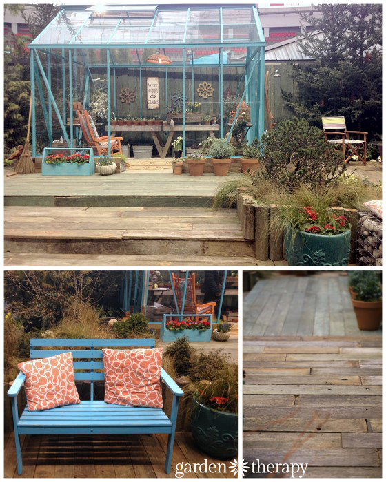 Seaside Garden greenhouse and weathered reclaimed wood decking