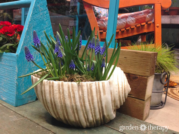 large shell planter from the Blue Greenhouse Seaside Garden Design Feature