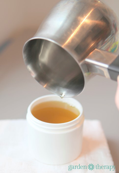 pouring the healing peppermint foot balm recipe