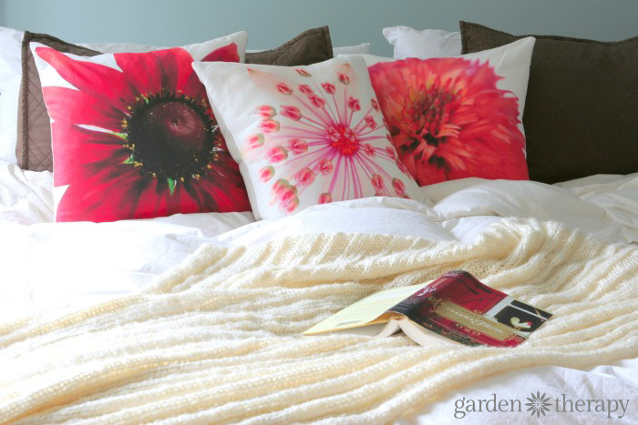 Gorgeous flower photography printed on soft cotton linen blend fabric and made into throw pillows!
