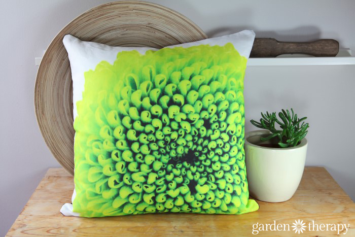 Green mum printed on soft cotton linen blend fabric and made into throw pillows!