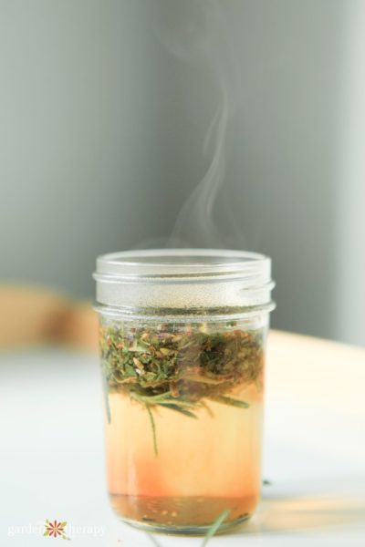 Herbal tea infusion in a mason jar