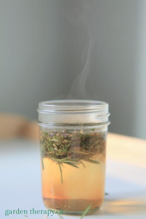 Herbal tea steeping for homemade herbal dog wash
