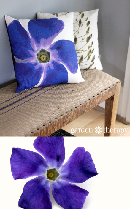 Periwinkle printed on soft cotton linen blend fabric and made into throw pillows!