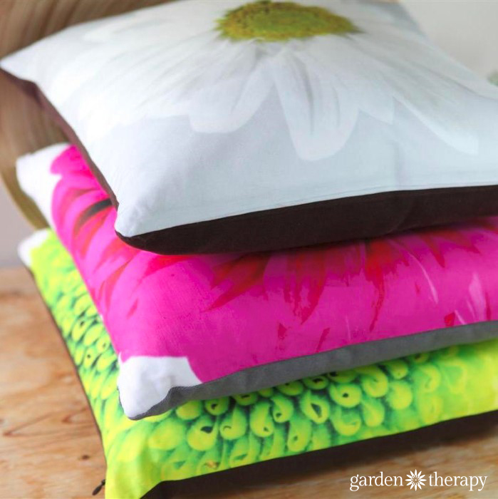 Set of three gorgeous flower throw pillows made from garden photography