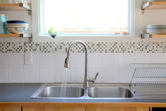 Kitchen Sink AFTER installing Pfister faucet - a simple makeover with big impact!
