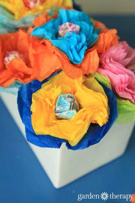 Lollipop and tissue paper flower craft