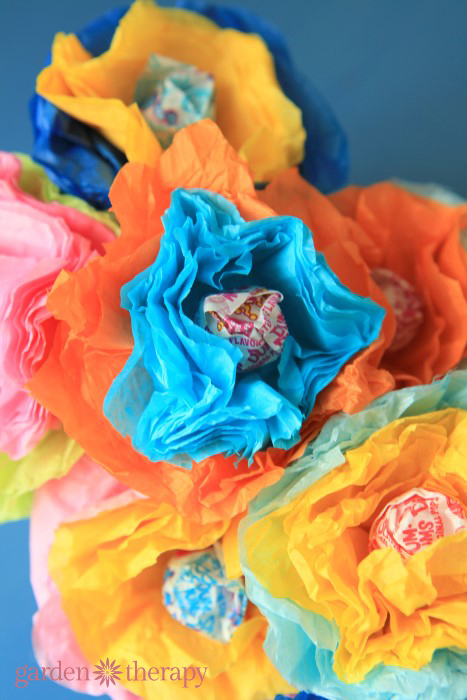 bright and cheery tissue and lollipop flowers DIY