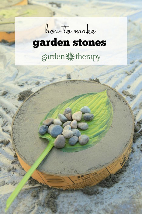 How to make inexpensive garden stones from leaves and concrete