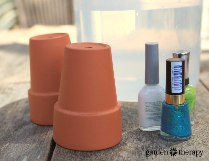 Nail Polish Marbling garden pots