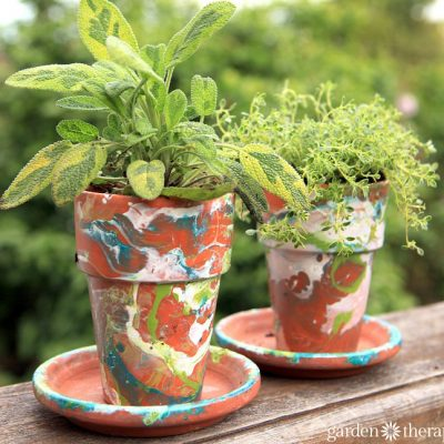Nail Polish Marbled Pots to Liven Up Your Plants