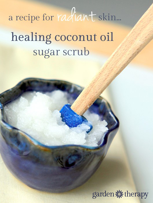 This coconut sugar scrub is made with skin repairing ingredients like lavender, geranium, carrot seed oil and more.