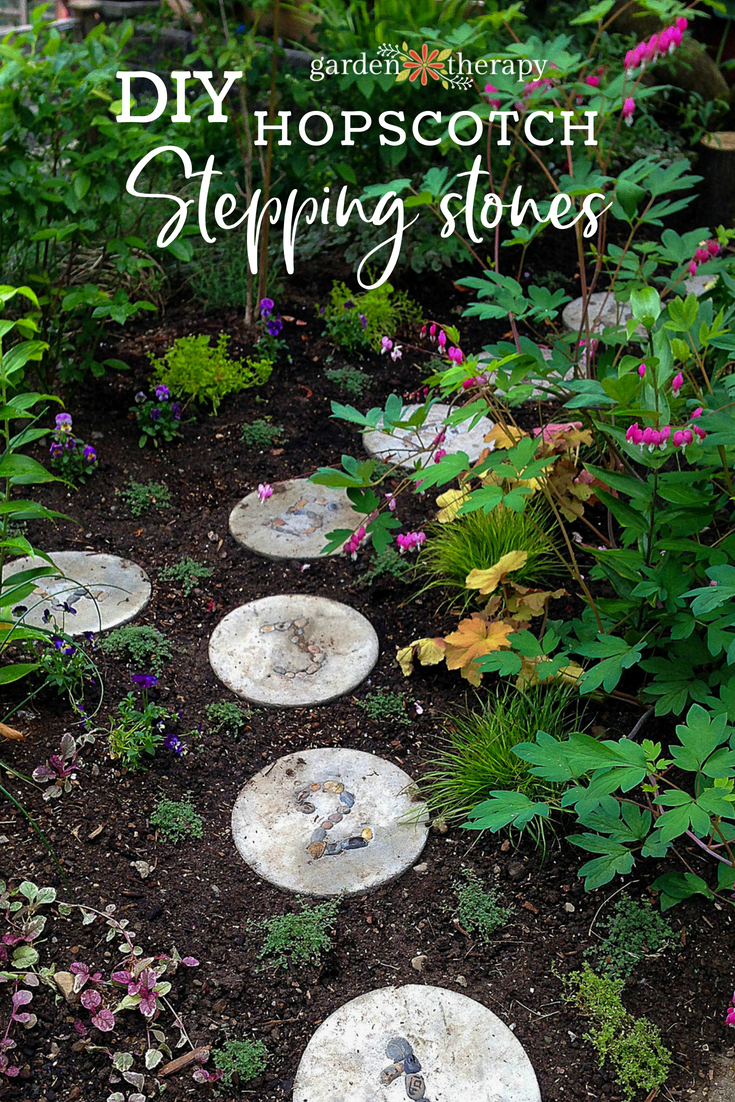 DIY hopscotch stepping stones
