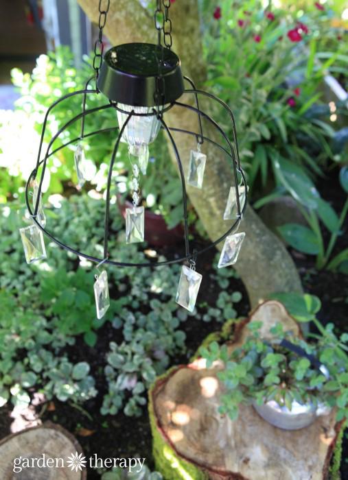 DIY solar chandelier hanging outside