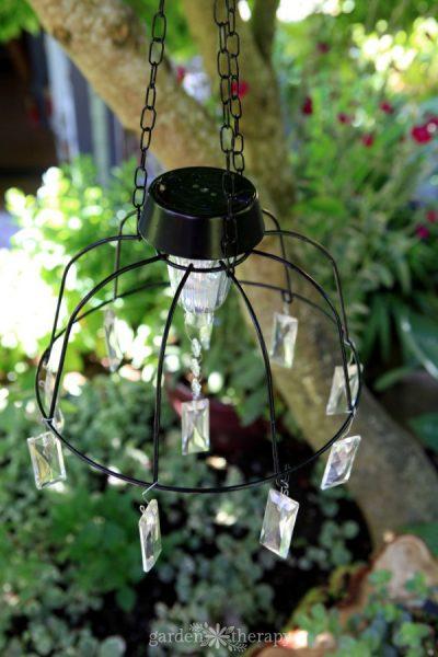 Fairy Garden Solar Light made from hanging bsaket