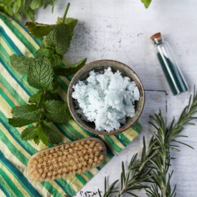 Simple and Energizing Rosemary + Spearmint Sugar Scrub Recipe