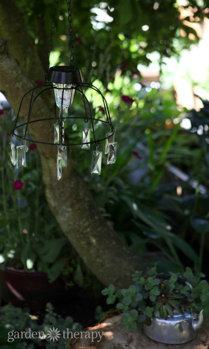 Solar light chandelier project hanging in the play garden