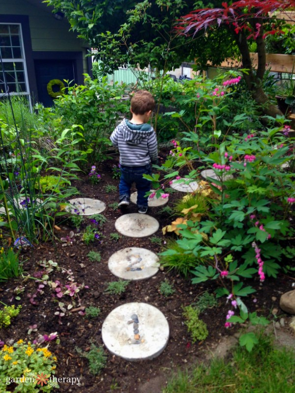 A hopscotch garden pathway for children