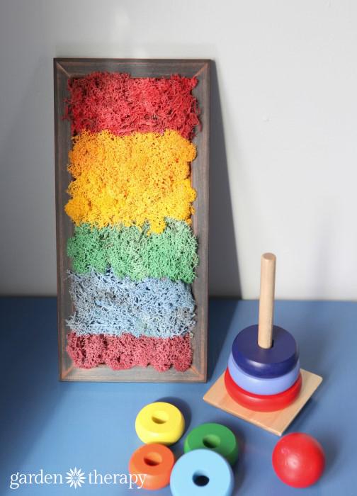 rainbow moss art for a fun DIY kids' project