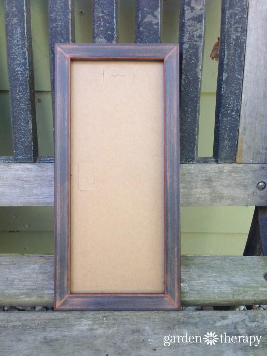sanded frame for moss art project