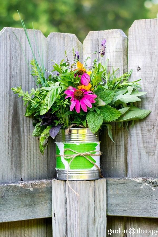 Beautiful natural posy flower arrangement ideas straight from the herb garden.
