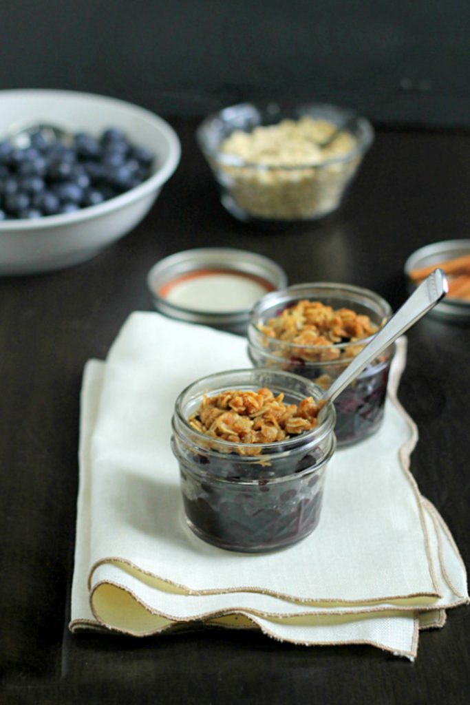 Mini Blueberry Crisp Recipe in Jars