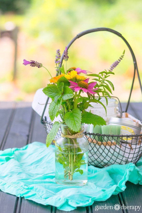 This herb bouquet filled with lavender, mint, lemon balm, calendula and echinacea is pretty and medicinal