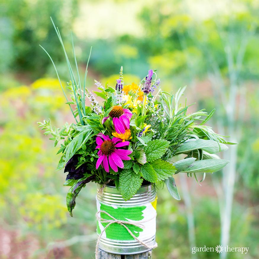 Rustic Herb Flower Arrangement