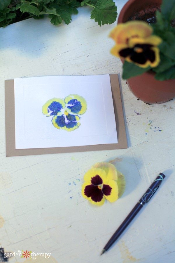 pansy print card